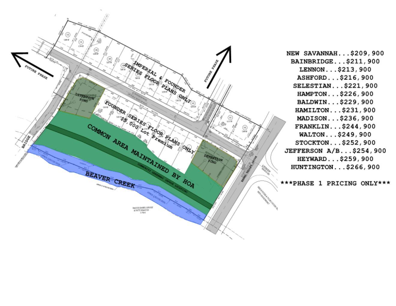 Creek Bend Farms Phase 1 Map